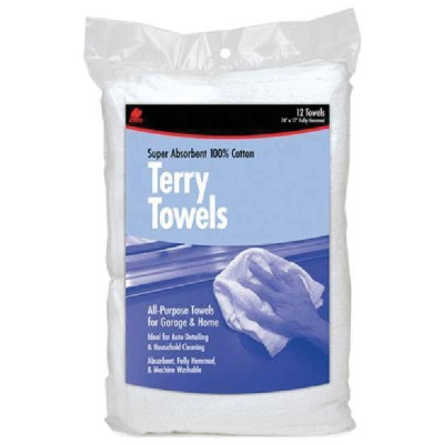 Buffalo Industries 100% Cotton White 14 In. Terry Cloth Towels, 057-331
