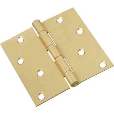 National 4 In. Square Satin Brass Door Hinge
