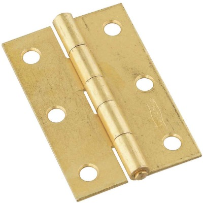National 3 In. Brass Tight-Pin Narrow Hinge (2 Count)