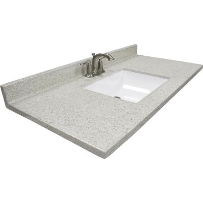 Modular Vanity Tops 37 In. W x 22 In. D Dune Cultured Marble Vanity Top with Rectangular Wave Bowl