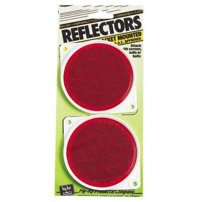Hy-Ko 3-1/4 In. Dia. Round Red Bracketed Nail-On Reflector (2-Pack)