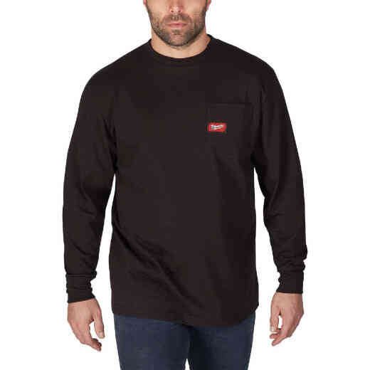 Milwaukee Large Black Long Sleeve Men's Heavy-Duty Pocket Shirt