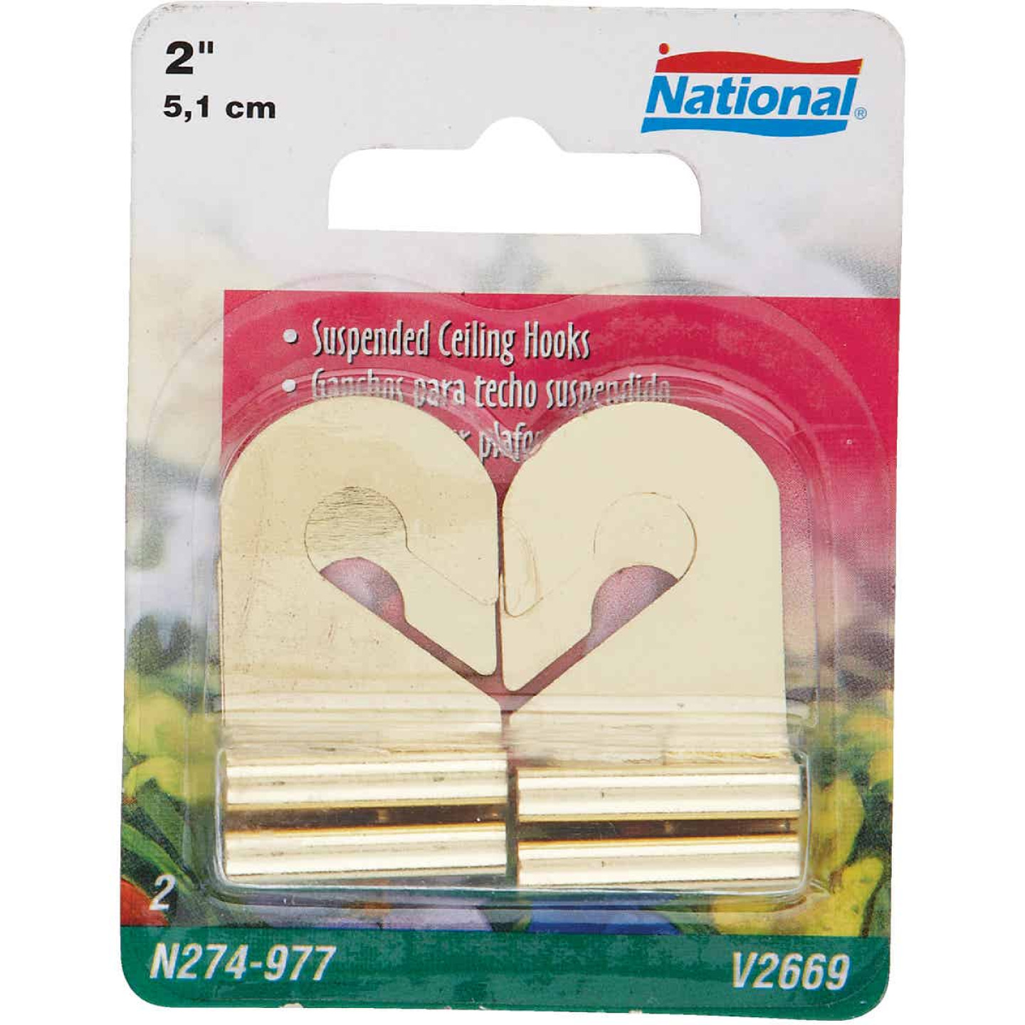National Brass Suspended Ceiling Hook (2 Pack) Image 1