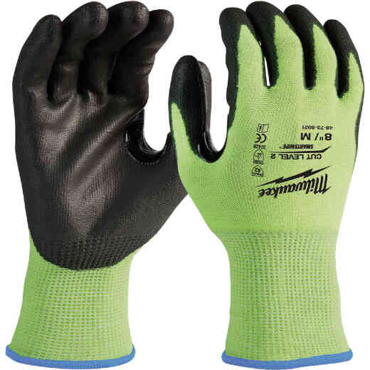 Milwaukee Unisex Medium Cut Level 2 High Vis Polyurethane Dipped Glove