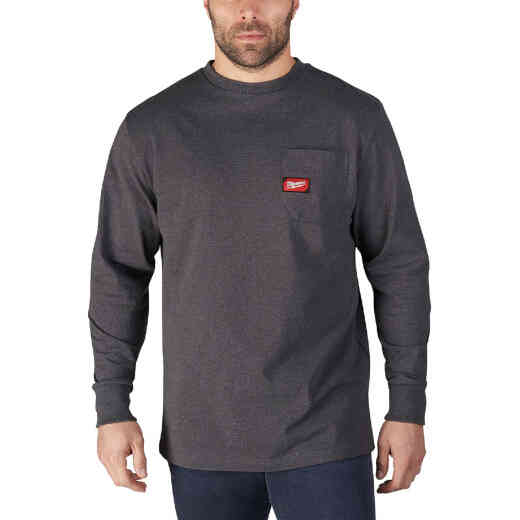Milwaukee XL Gray Long Sleeve Men's Heavy-Duty Pocket Shirt
