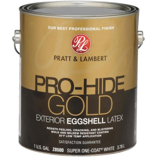 Pratt & Lambert Pro-Hide Gold Latex Eggshell Exterior House Paint, Super One-Coat White, 1 Gal.