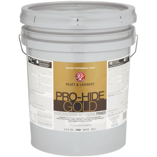 Pratt & Lambert Pro-Hide Gold Waterborne Interior/Exterior Stain Blocking Primer, White, 5 Gal.