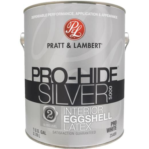 Pratt & Lambert Pro-Hide Silver 5000 Latex Eggshell Interior Wall Paint,Pro White, 1 Gal.