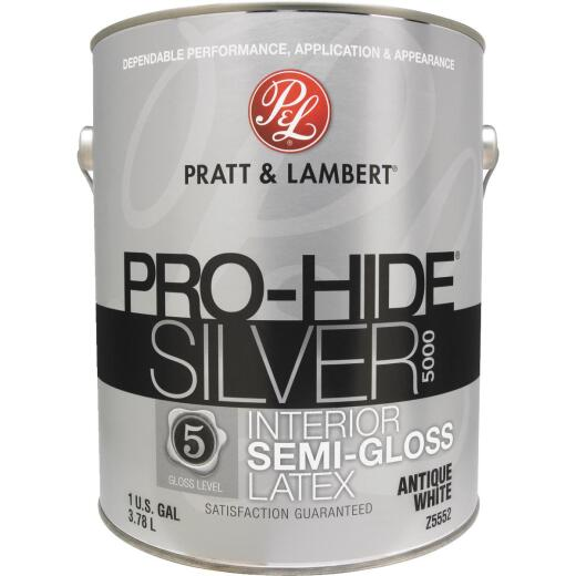 Pratt & Lambert Pro-Hide Silver 5000 Latex Semi-Gloss Interior Wall Paint, Antique White, 1 Gal.