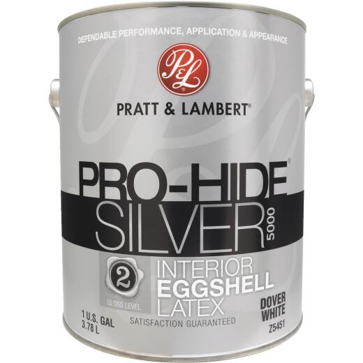 Pratt & Lambert Pro-Hide Silver 5000 Latex Eggshell Interior Wall Paint, Dover White, 1 Gal.