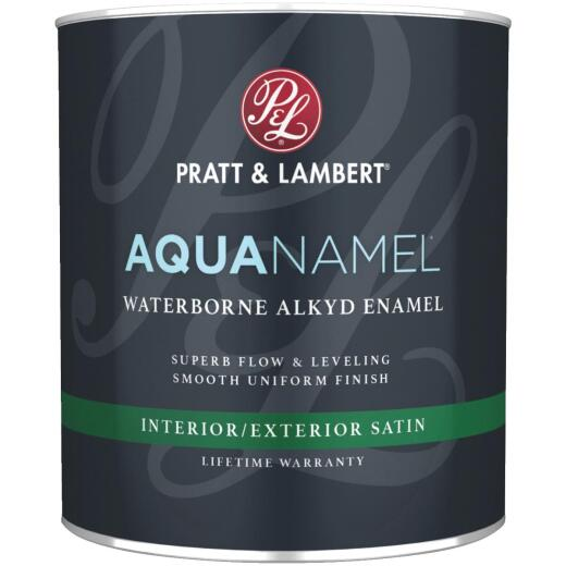 Pratt & Lambert Aquanamel Waterborne Alkyd Satin Interior/Exterior Enamel, Bright White Base, 1 Qt.